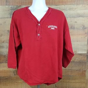 Express Jeans Henley Shirt Men's Size M Red Thick